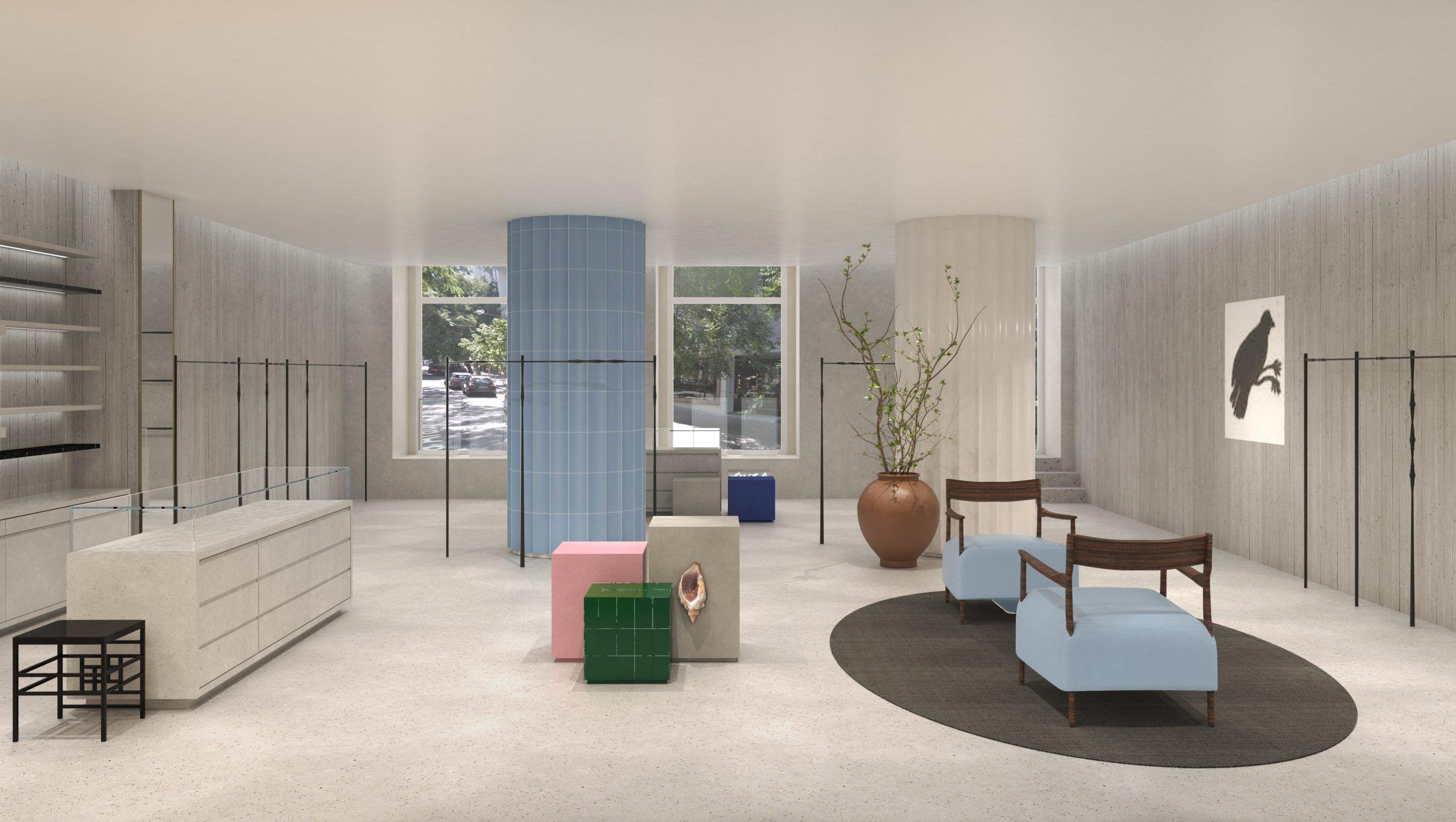 Espacio interior con mobiliario 3D
