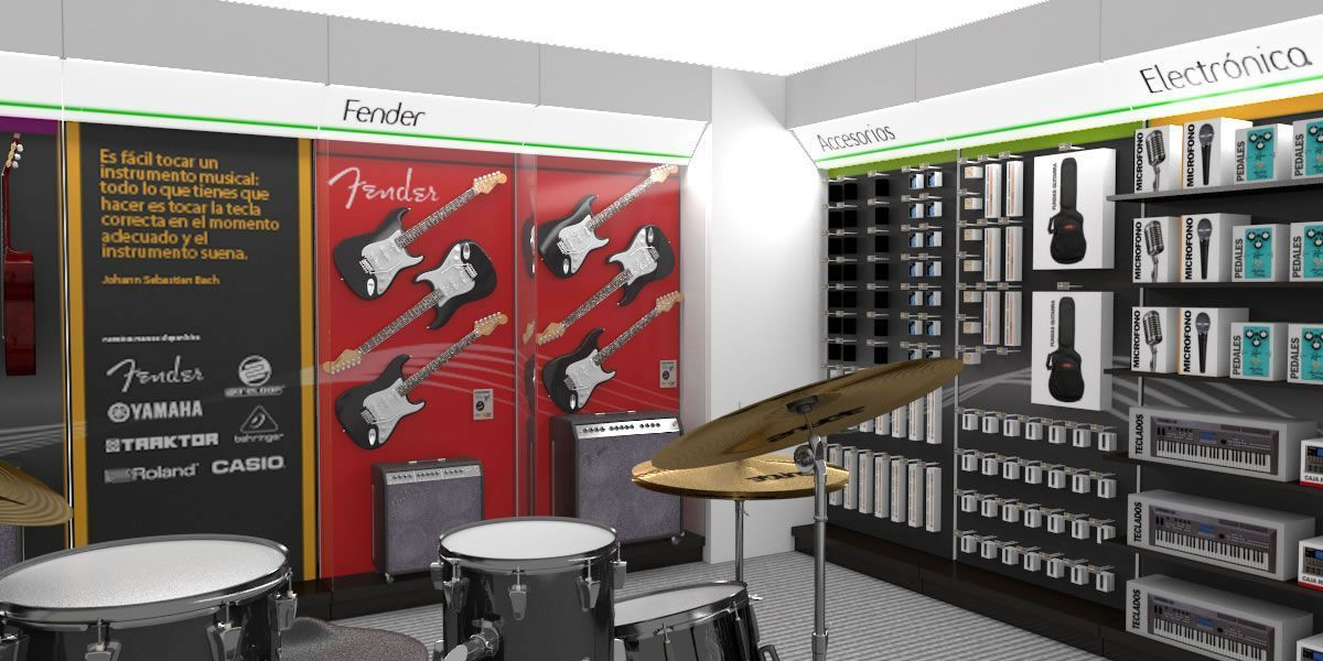 Renderizado 3D zona instrumentos musicales