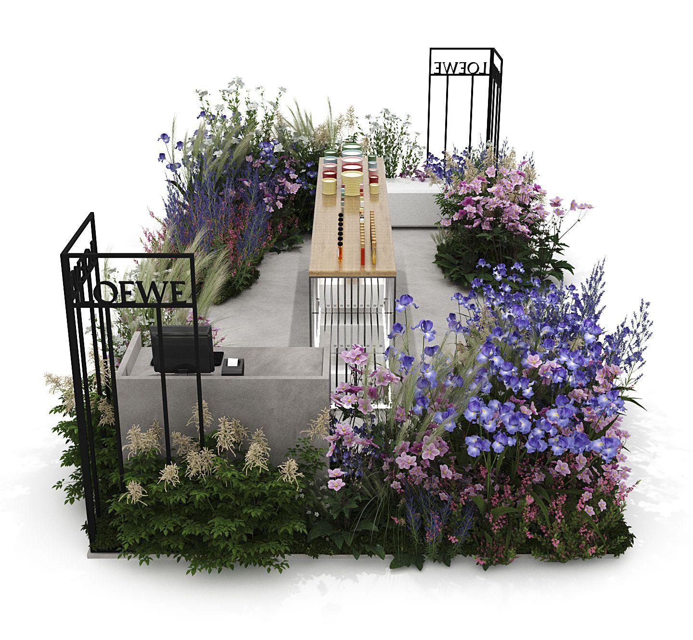 Modelado 3D Punto de venta, expositor y decoración con plantas