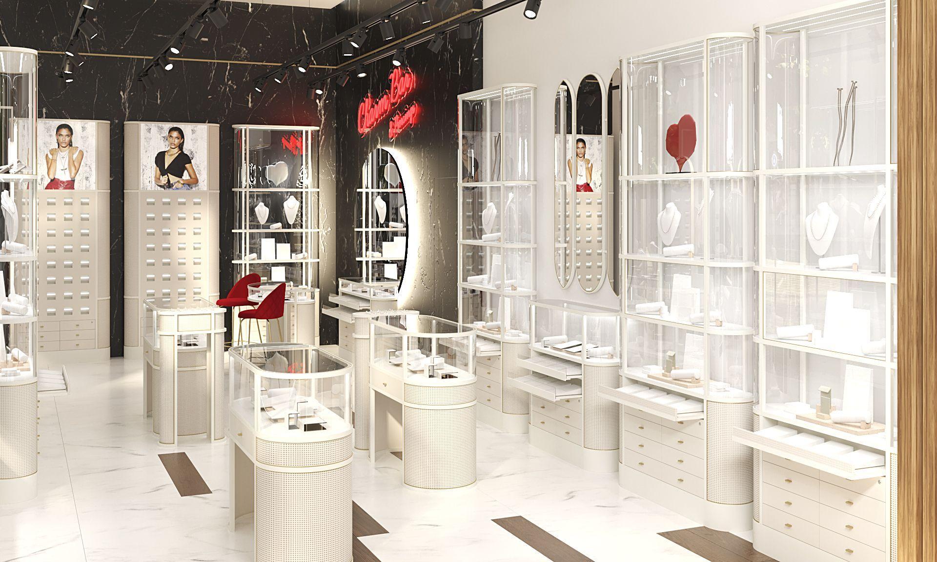 Modelado 3D tienda de joyería